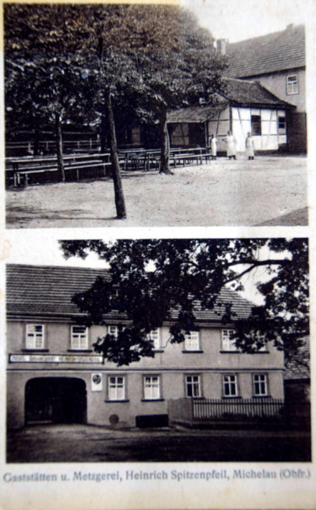 Postkarte aus den 1930er oder 1940er Jahren, damals noch mit Biergarten im Hinterhof